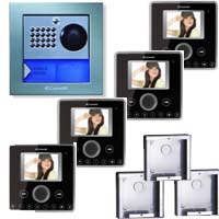 Cyrex 8495WU-4 Planux Family Video Intercom Kit- Black
