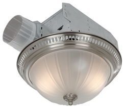 "Broan 741SN Decorative Satin Nickel Fan/Light With Frosted Glass, 70 Cfm, 3.5 Sones. 13-3/8"" Diameter Base."