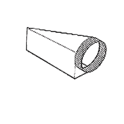 "Broan 454 Horizontal right transition; 4-1/2"" x 18-1/2"" to 10"" round"